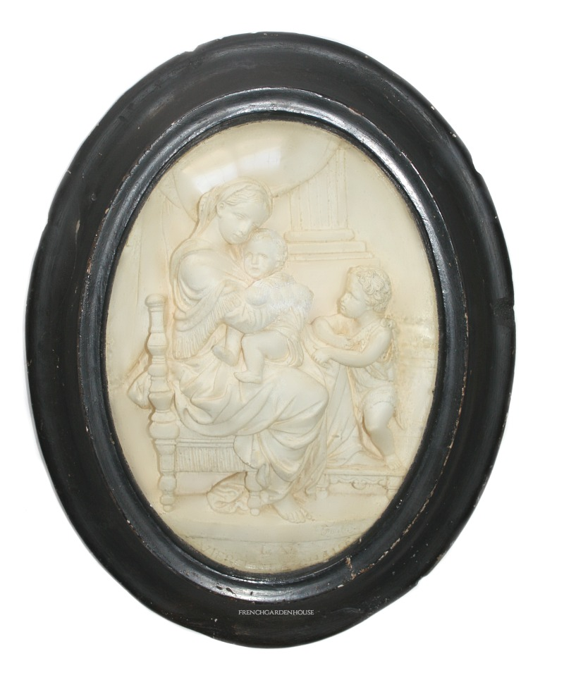 Antique Framed French Napoleon III Hand Carved Madonna & Child