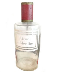 Antique French Apothecary Glass and Tole Bottle Menthe