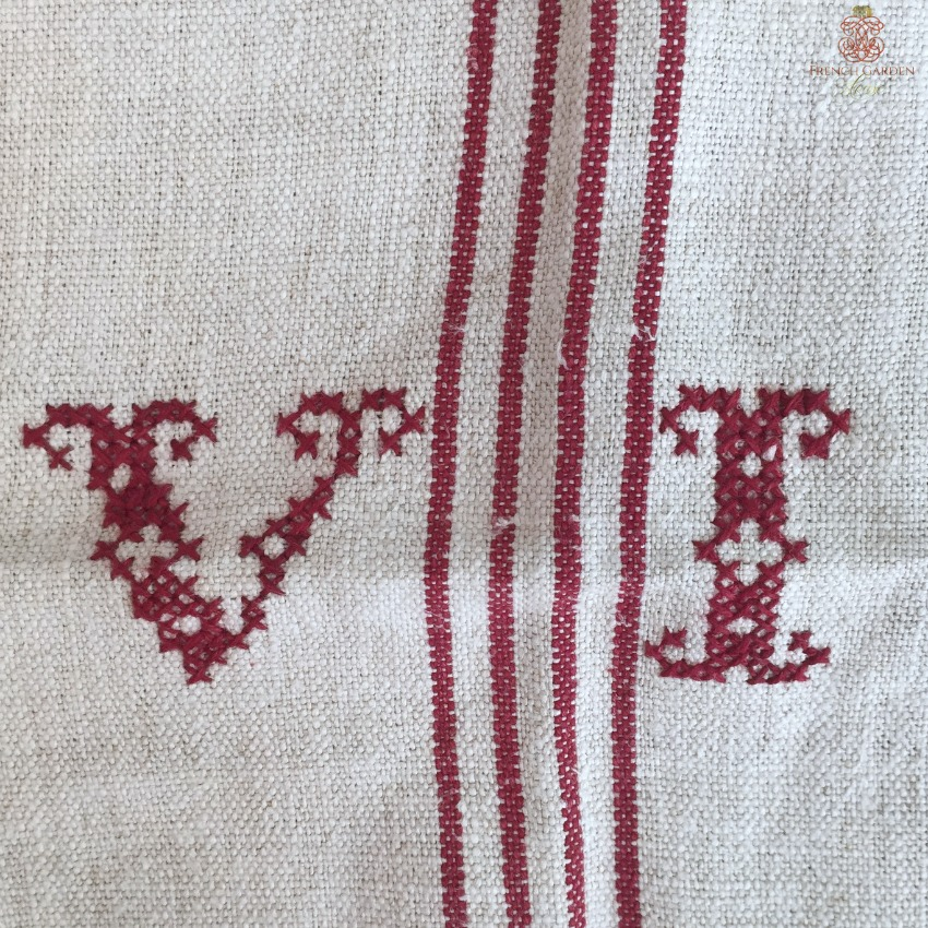 Antique French Linen Hand Woven Monogrammed V I Towel