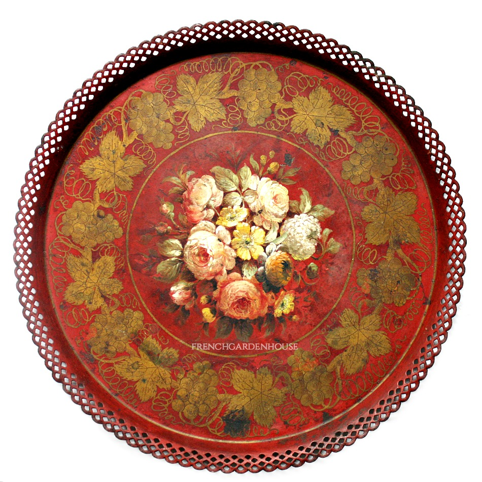 Antique French Napoleon III Hand Painted Tole Peinte Red Roses Tray