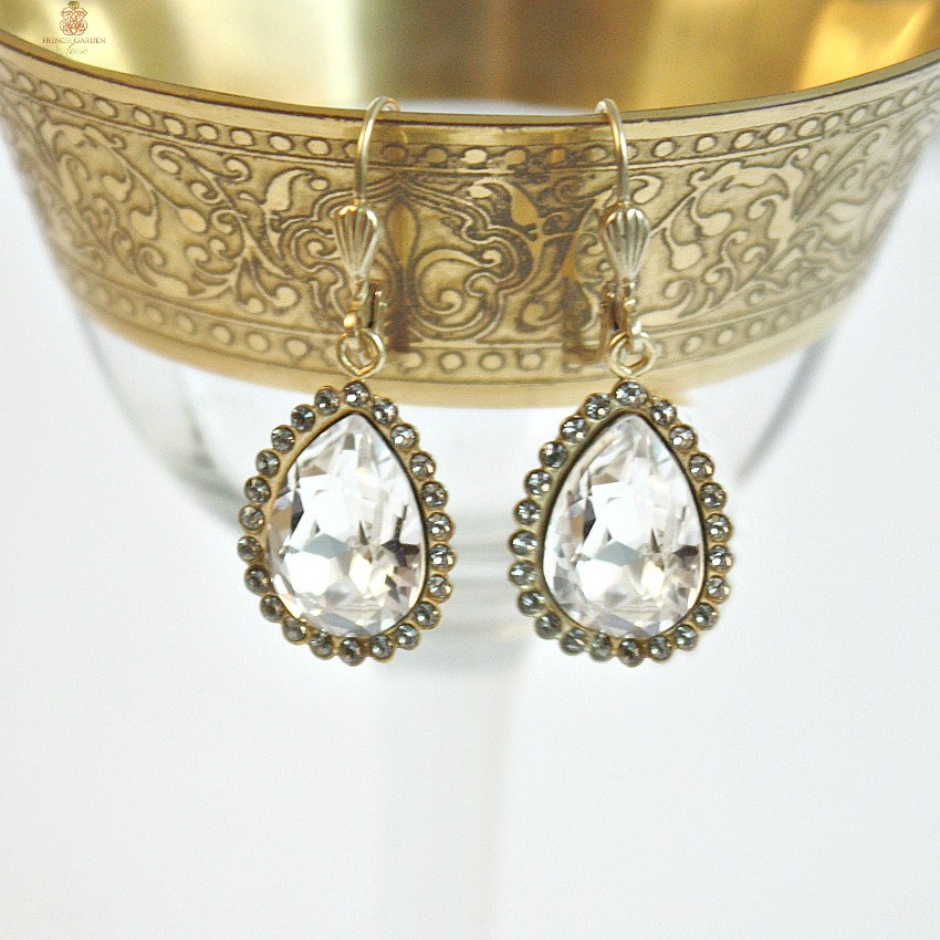 Gold Parisian Clear Crystal Teardrop Earrings