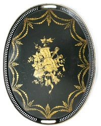 Black Hand Painted Toleware French Style Tray