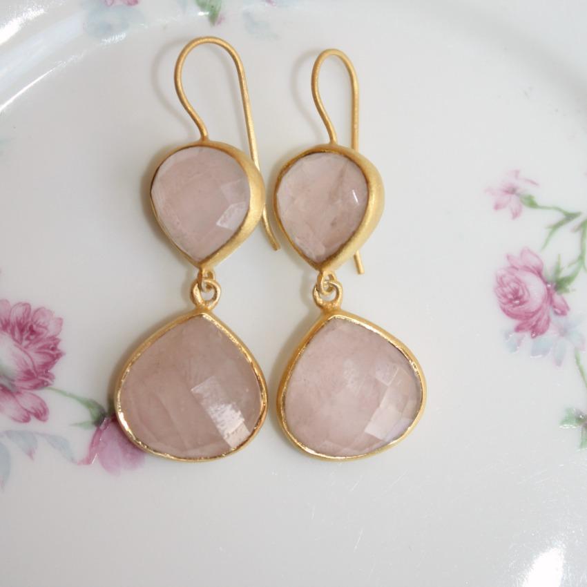 Dawn Break Pink Quartz Vermeil Earrings