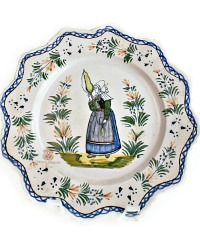 French Faience Plate Henriot Quimper Breton Woman