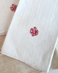 Antique French Light Cream Linen Towel Red WM Monogram