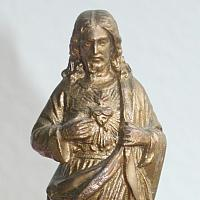 Antique French Gilt Devotional Figure Sacred Heart of Christ