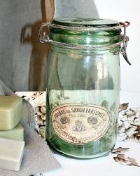 French Glass Canning or Storage Jar Savon