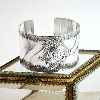 KDL Antique French Sterling Silver Cuff Bracelet Ruffled Monogram B C