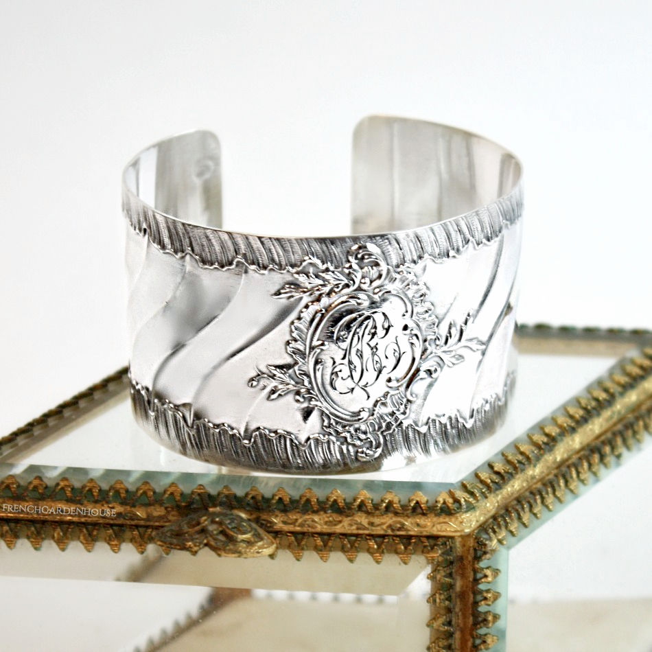 Antique French Sterling Silver Cuff Bracelet Ruffled Monogram B C