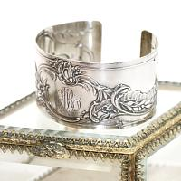KDL Antique French Sterling Silver Cuff Bracelet M B