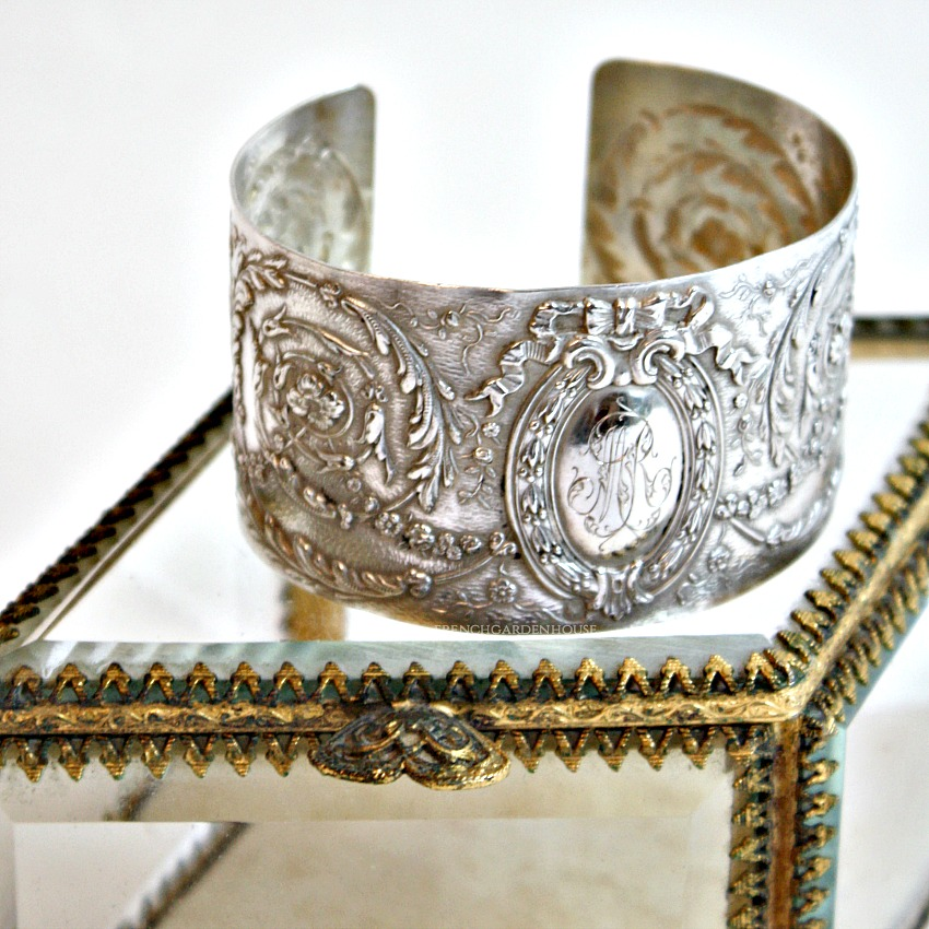 KDL Antique French Sterling Silver Cuff Bracelet G R