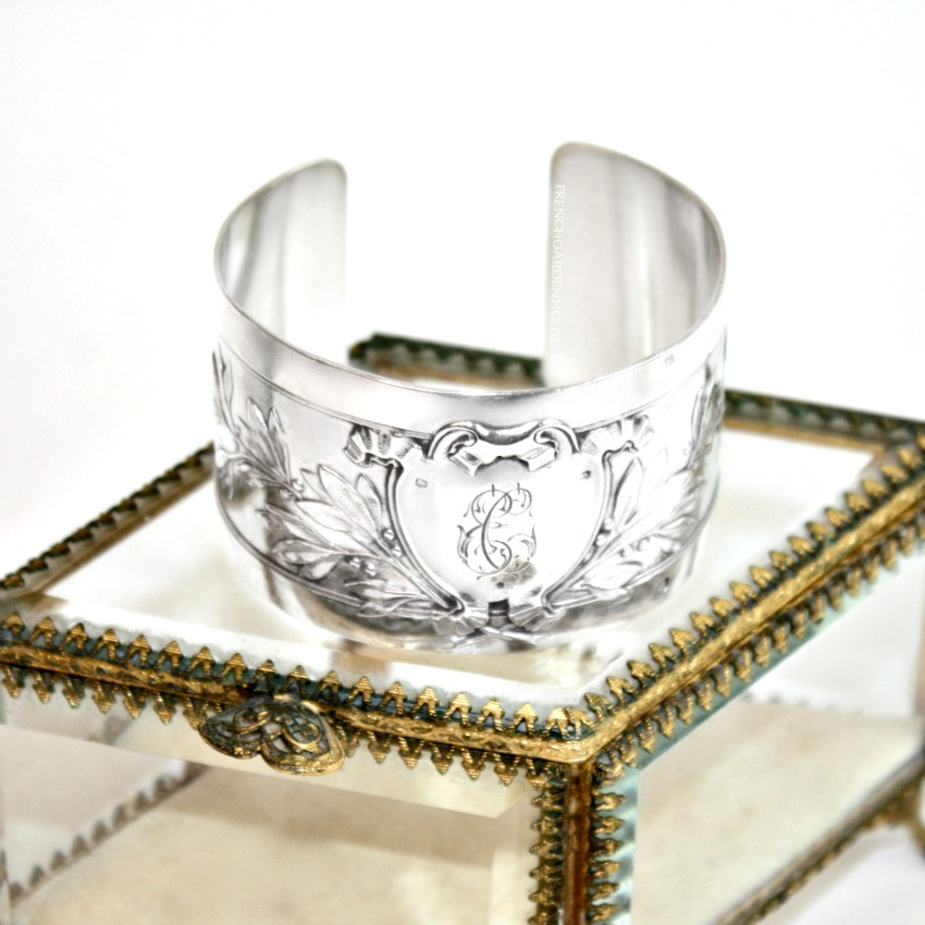 Antique French Sterling Silver Cuff Bracelet E G