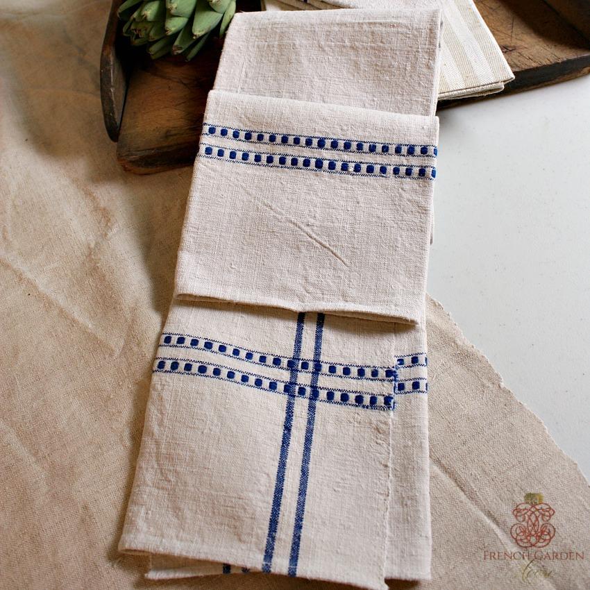 Antique French Linen Torchon Towel Large Stripe
