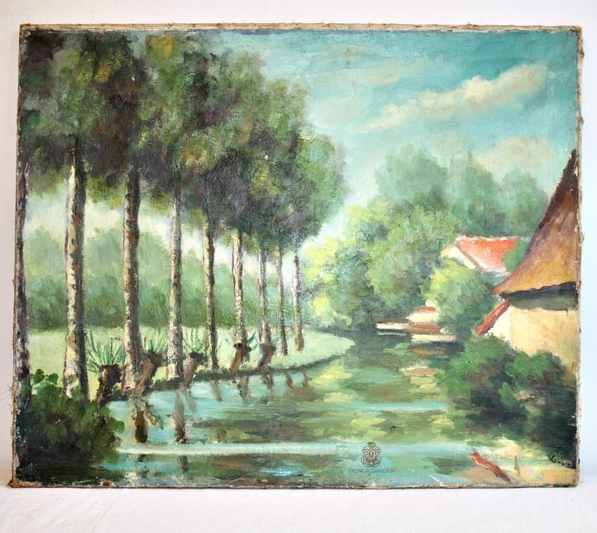 French Signed FLeamarket Oil Painting Stream