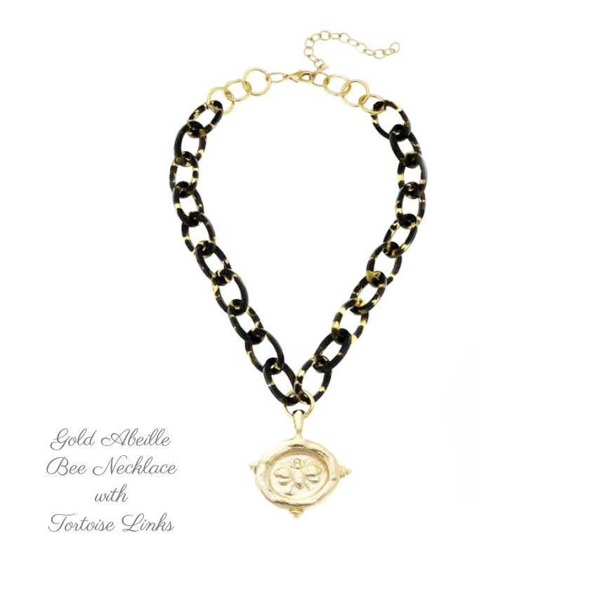 Gold Abeille Bee Necklace with Tortoise Links