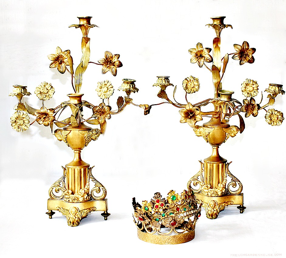 Antique French Gilt Floral Altar Four Light Candelabra Pair