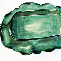 Antique French 19th Century Longchamp Majolica Asparagus Server with Foliage Platter