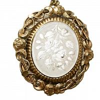 Antique White Roses Swivel Locket Keepsake Necklace