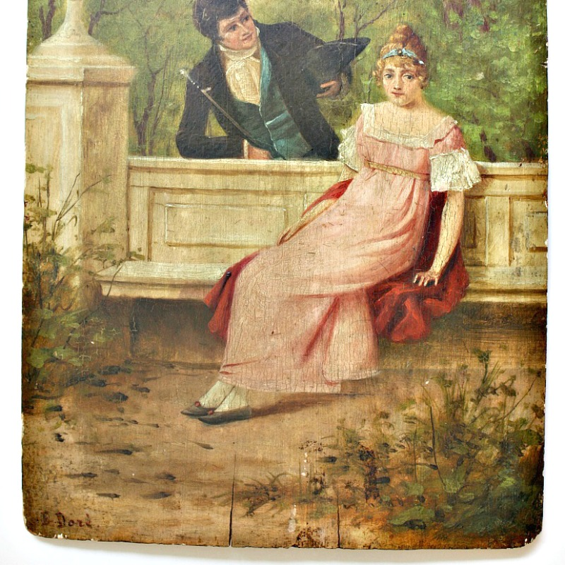 Antique Signed French Oil Painting on Wood
