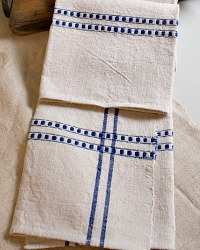 Antique French Linen Torchon Towel Large Stripe
