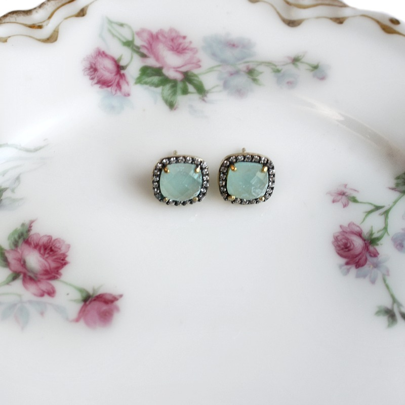 Parisian Kiss Vermeil Square Cut Aqua Chalcedony Earrings