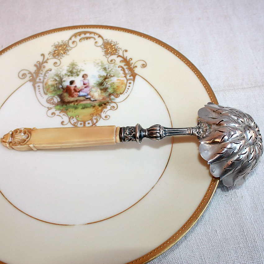 Early Antique French Silver Sugar Sifter Confection Pierced Spoon