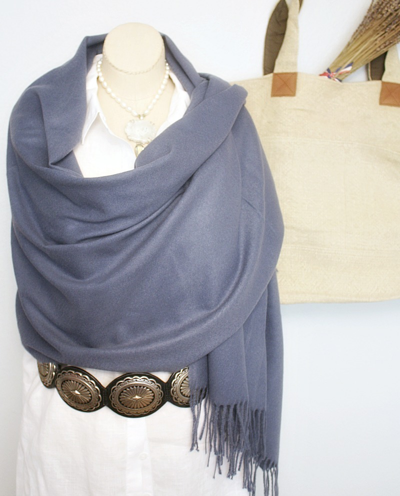 Luxurious Cashmere Wrap French Blue