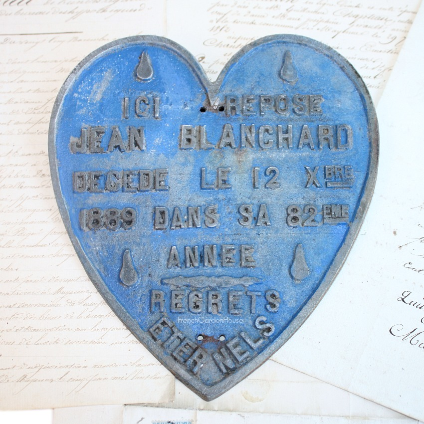 19th Century French Memorial Burial Plaque Sacred Heart Jean