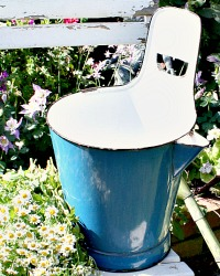 European  Farmhouse Blue Enamelware Milking Bucket