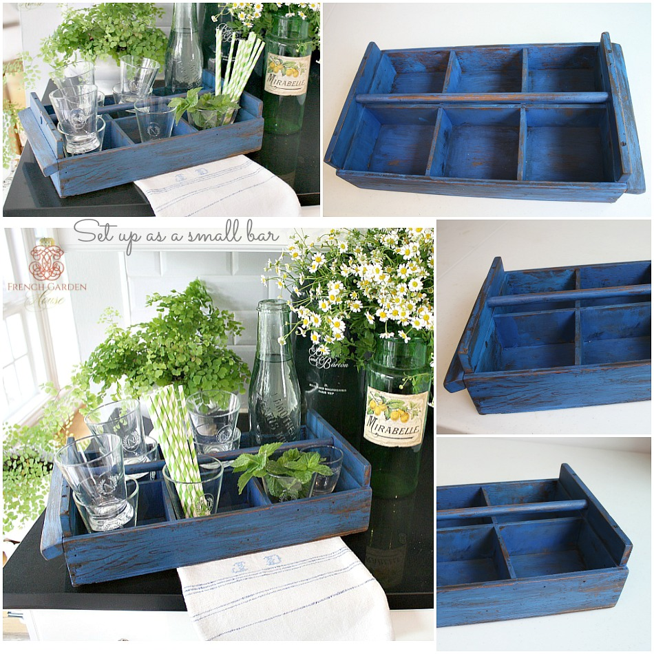 Brocante Wood Seed Carrier Bright Blue Paint