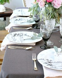 Elegant European Grey Organic Linen Round Tablecloth