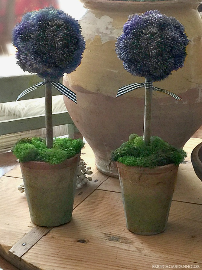French Country Purple Sedum Topiaries Pair