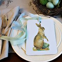 French Country Hare Gift Tag Set of 6