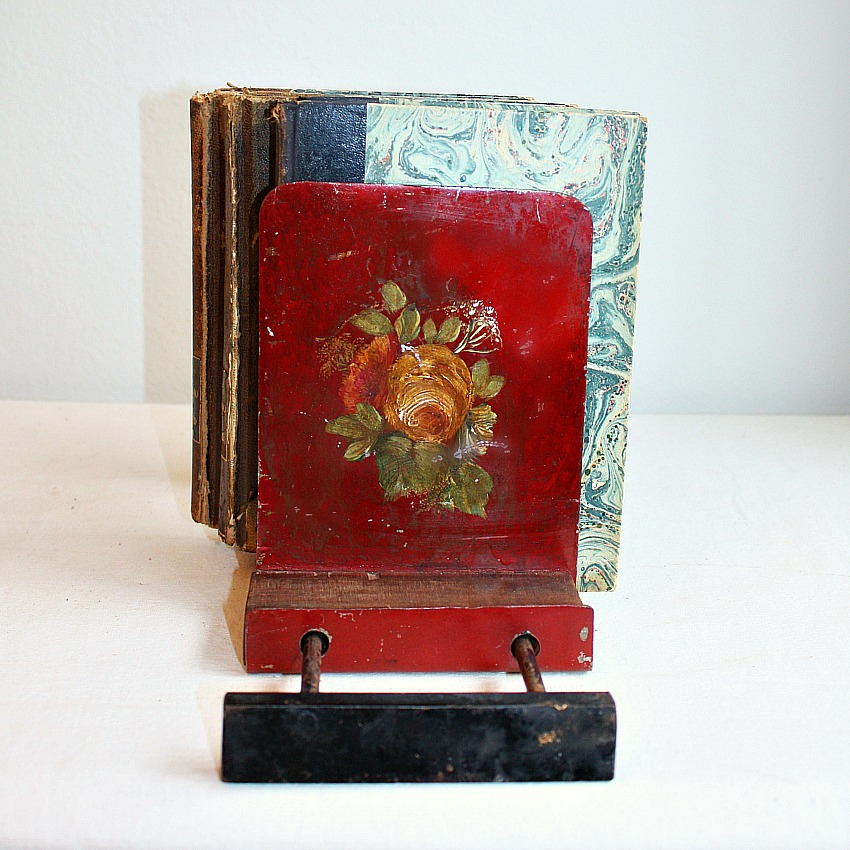 Antique French Country Red Toleware Roses Book Stand