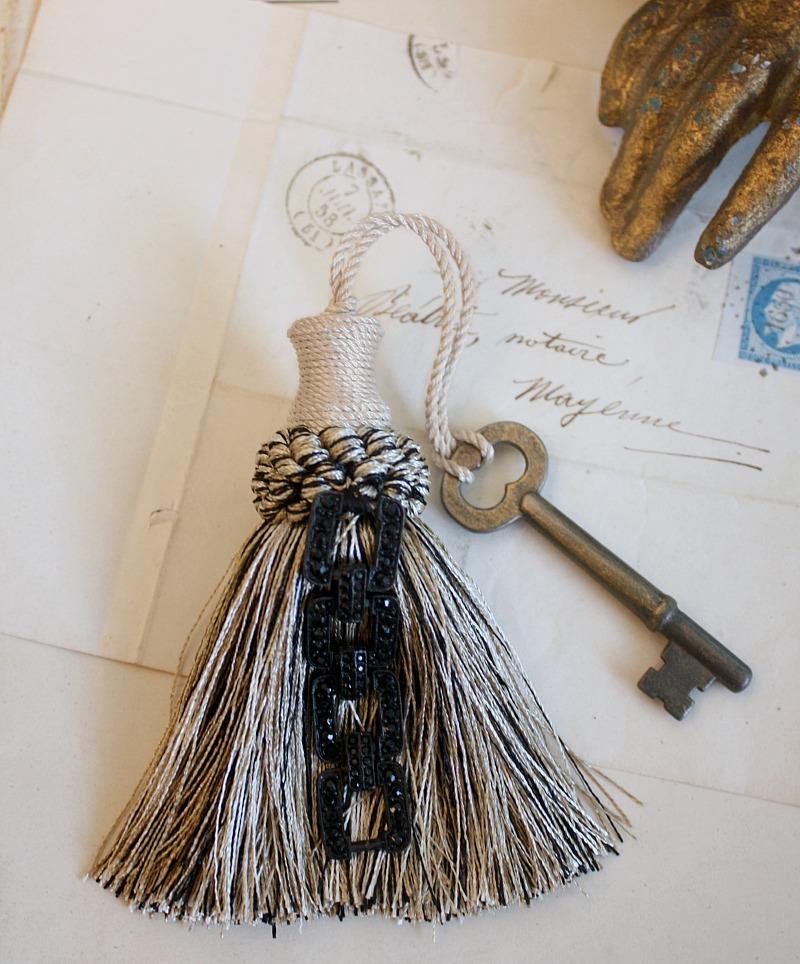 Parisian Atelier Cream and Black Deco Style Tassel