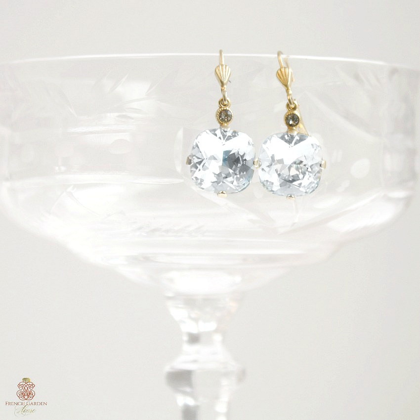 Gold La Glace Cushion Cut Crystal Earrings