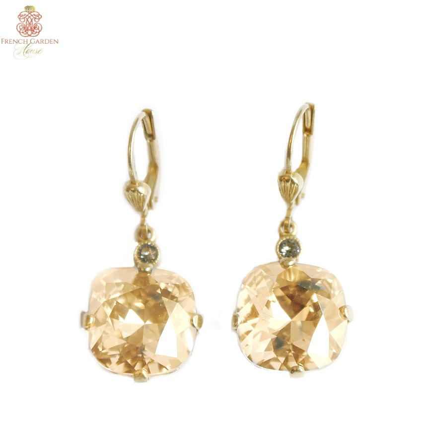 Gold & Champagne Cushion Cut Crystal Earrings