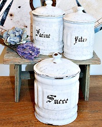 Antique French Enamelware White and Blue Canister Set of 3
