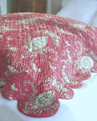 French Country Boutis Red Pillow Cover Large