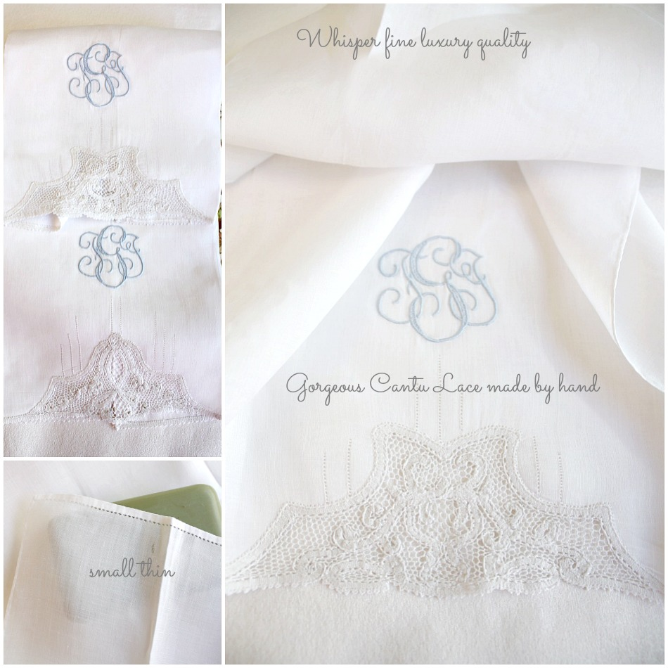 2 Heirloom Cantu Lace White and Blue Monogrammed Guest Towels