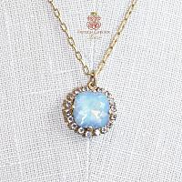 Gold &  La Mer Blue  Comtesse Cushion Cut Crystal Necklace