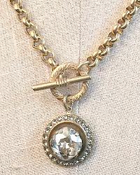French Gold La Reine Cushion Cut Crystal Pendant Necklace