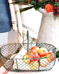 Vintage French Wire Harvest Basket