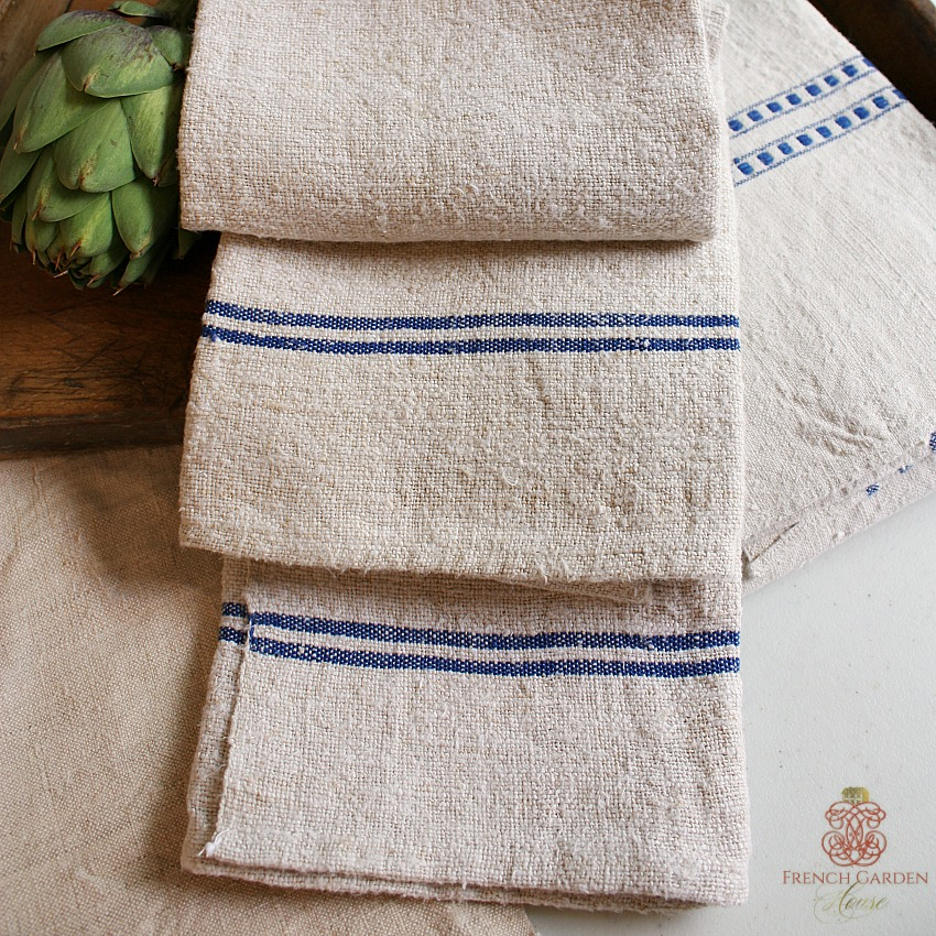 antique flax linen oatmeal kitchen towel