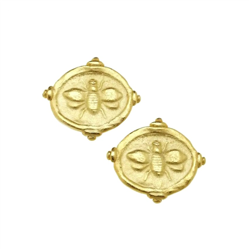 Gold Abeille Intaglio Earrings