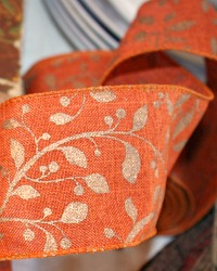 French Wired Autumn Gilded Leaves Linen Ribbon