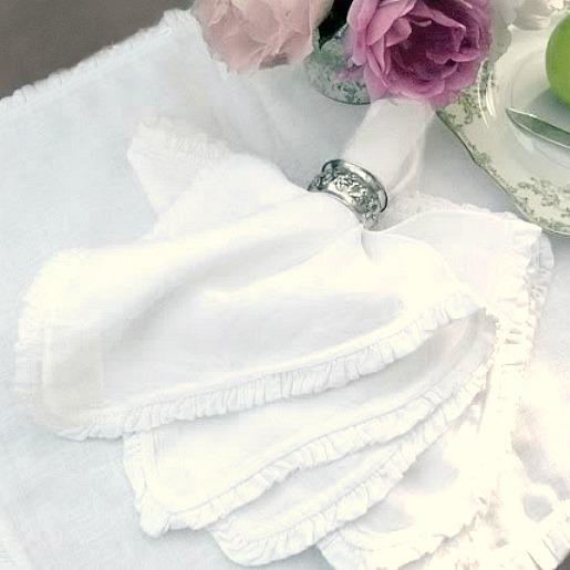 Belgian Linen White Ruffled Napkin Set of 4