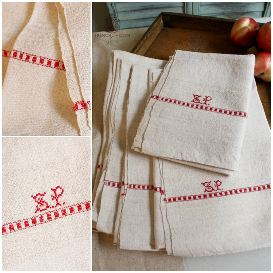 Antique French Linen Towel Monogram S P