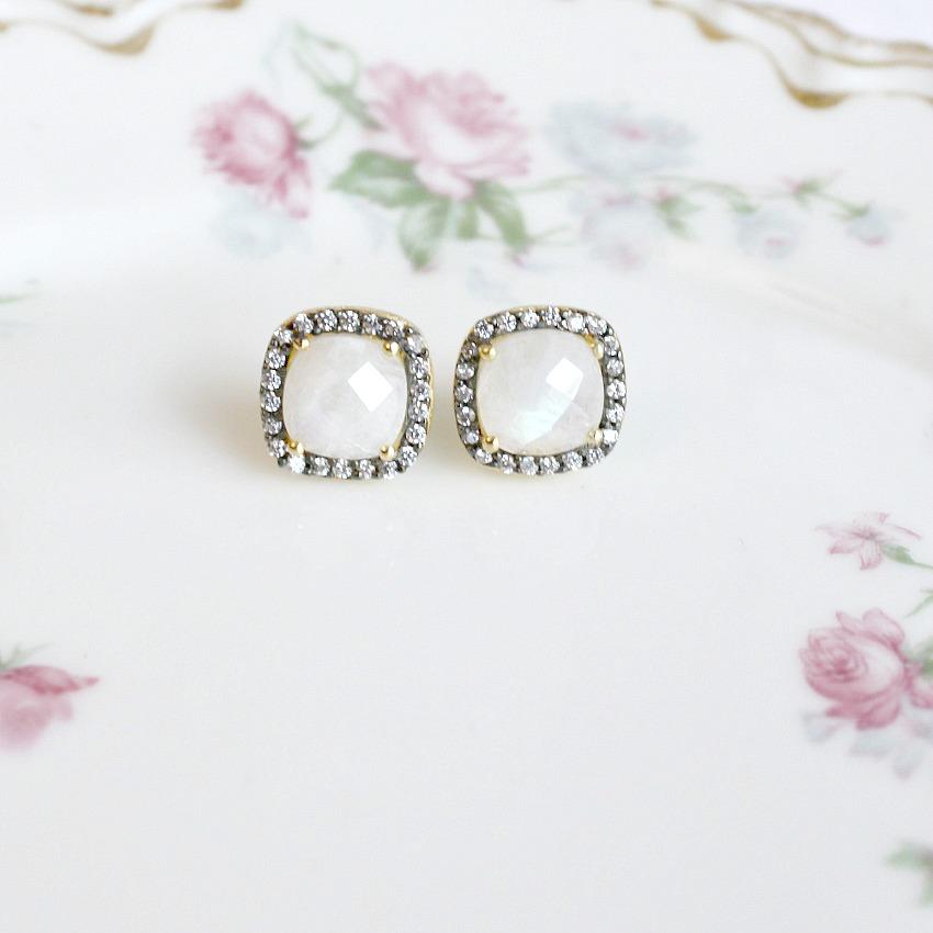 Parisian Magic Vermeil Square Cut Moonstone Earrings