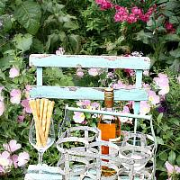 Antique French Country Bottle Carrier for Wine Sage Paint